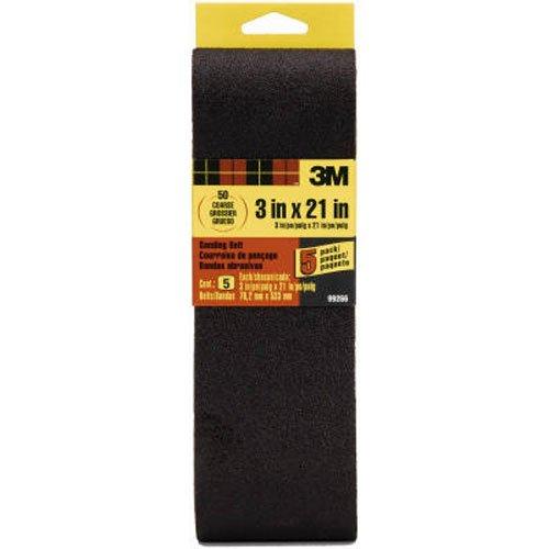 3M 99266NA Sanding Belt Coarse 50-Grit, 3 by 21-in, 5-Pack