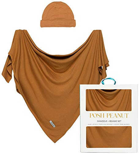 Posh Peanut Baby Swaddle Blanket  Large Premium Knit Viscose from Bamboo  Infant Swaddling Wrap Receiving Blanket and Headband Set Baby Shower Newborn Gift  Marigold