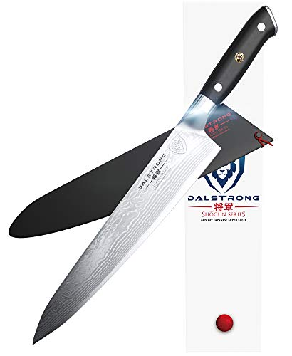 DALSTRONG Chef's Knife - 9.5' - Shogun Series - Damascus - Japanese AUS-10V Super Steel - Vacuum Treated - Black, G10 Handle