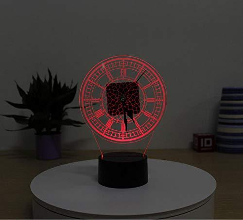 Zwarte staande klok geschenken 3D-nachtlampje 7 kleuren nachtlampje voor kinderen met afstandsbediening veranderen jaar voor jongens verjaardagscadeau verlichten