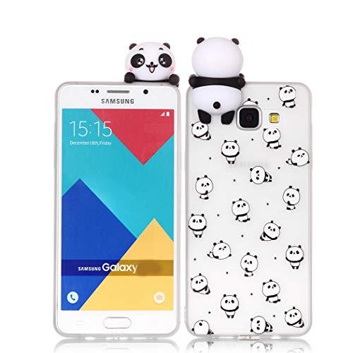 Leton Funda Samsung Galaxy A3 2016 Silicona 3D Suave Flexible TPU Carcasa Galaxy A3 2016 Panda Ultra Delgado Gel Tapa Ultrafina Goma Cubierta Case Galaxy A310 3D Papa Protectora Bumper Blanco
