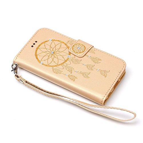 ISAKEN Huawei Y5 II Hülle, Glitzer PU Leder Brieftasche Geldbörse Wallet Case Handyhülle Tasche Schutzhülle Etui mit Handschlaufe für Huawei Y5 II/Huawei Y6 II Compact - Dream Catcher Gold - 3