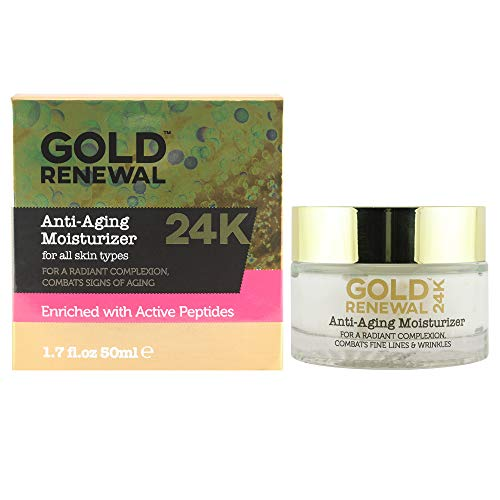 24K Gold Anti-Aging Facial Moisturizer for illuminating skin. 24karat Gold Face Care Cream for anti-aging skin care repair and beauty regime with Aloe Vera and oils of Coconut, Jojoba and Avocado