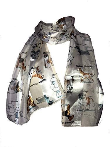 Pamper Yourself Now Creme glänzenden Hund Schal mit verschiedenen Hunderassen (Cream shiny dog scarf with different dog breeds)