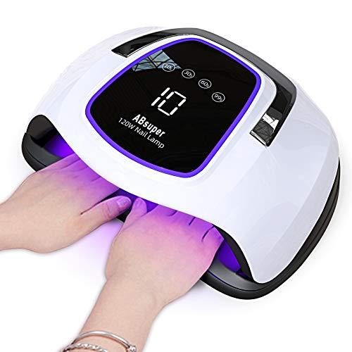 UV LED Lampe für zwei Hände, Upgrade 120W Nageltrockner, Großer Platz für 10 Nägel/Zehennägel, Nagellampe mit Auto-Sensor 4 Timer Touchscreen, Aushärtungswerkzeug für gel shellac lack Acryl polygel