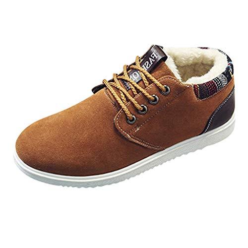 Vovotrade Korte laarzen voor heren, met veters, warm, gevoerd, sneeuwlaarzen, laarzen voor heren, Chelsea Boots Flat Boots