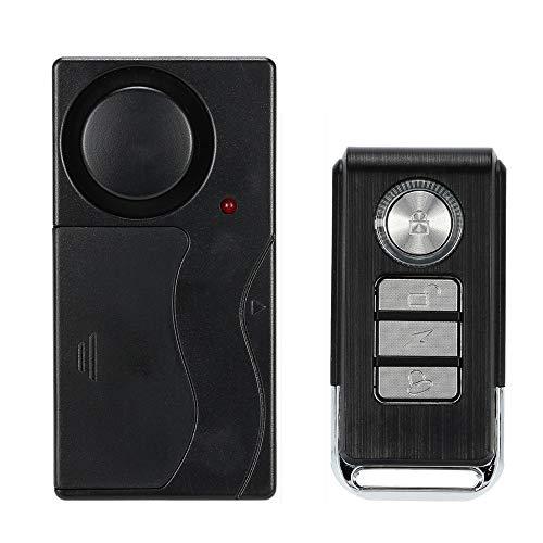 KKmoon 433MHZ Alarama, 105dB Súper Fuerte, Sensibilidad Ajustable, Alarma de Vibración Inalámbrico con Control Remoto, Antirrobo para Moto/Puerata/Ventana