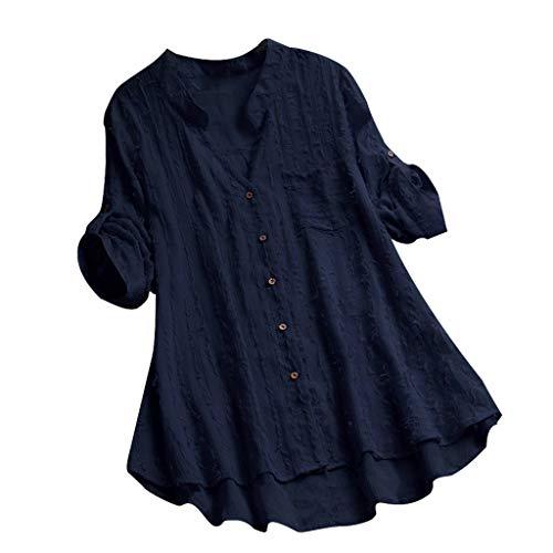 VEMOW VEMOW Herbst Frühling Sommer Elegante Damen Frauen Stehkragen Langarm Casual Täglichen Party Strand Urlaub Lose Tunika Tops T-Shirt Bluse(Marine, 42 DE/L CN)