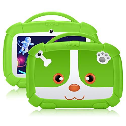 Tablet per bambini,7 pollici,Android 9.0 Qiamoo16 GB Kids Quad Core CPU 1,5 GHz Tablet per bambini con modalità di sicurezza per bambini supporto WiFi & Google Play verde