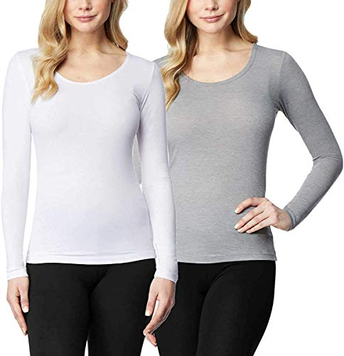 32 DEGREES Ladies' Heat Long Sleeve Scoop Neck Tee 2-Pack (M, White/Grey)