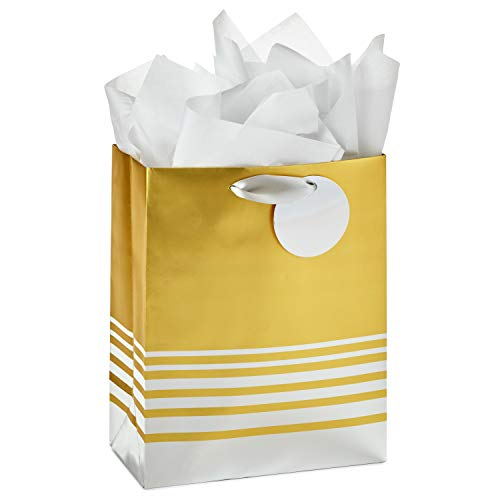 Hallmark 9' Medium Gift Bag with Tissue Paper (Silver and Gold Foil) for Graduations, Birthdays, Bridal Showers, Weddings, Christmas, Hanukkah, Holidays, All Occasion