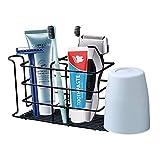 Soporte para cepillo de dientes montado en la pared, soporte para pasta de dientes Iron Art, organizador de accesorios de baño, viene con 2 soportes para cepillo de dientes eléctrico