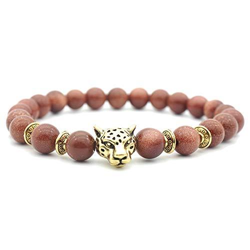 8MM Armband Damen Charme Armreif Legierung Leopard-Kopf Sandstein Unisex dehnbar Manschette Armbänder für Herren (Gold)