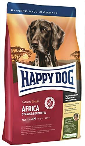 Happy Dog Africa Aktion 3 x 4 kg - Stets frisch und leicht zu tragen und zu lagern. Getreidefrei, nur Strauß als Protein