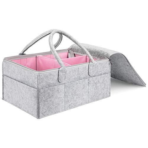 MaidMAX Babyluier Caddy vilten tas met deksel, draagbare verschoontafel organizer, multifunctionele luiertas, vilten mand opbergdoos met verwisselbare vakken voor kinderkamer, auto en reis roze