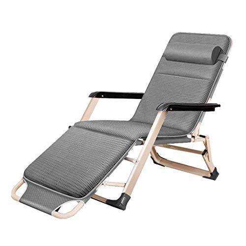 YLCJ Ligstoelen Vouwstoelen Ontspannen door zwaartekracht Zero Sun Lounger Tuinstoelen op het Strand met Grijze Katoenen Padding