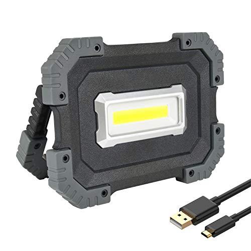 Preisvergleich Produktbild 10W LED Strahler,  USB LED Baustrahler Akku 1000 Lumen, Tragbare Arbeitslampe aufladbar,  mit 4400mAh Powerbank, 3 Lichtmodi für Baustelle, Werkstatt, Äußere Beleuchtung [Energieklasse A+]