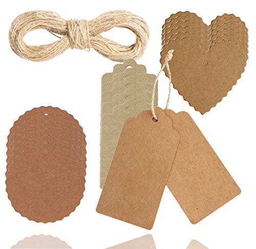 XXL Geschenkanhänger Set Weihnachten aus Kraftpapier mit Anhänger - Etiketten & Kordel - Juteschnur für Geschenke Basteln (1x Set)