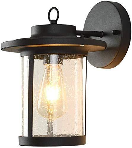 Outdoor indoor wandlamp, matzwart, helder glas scherm