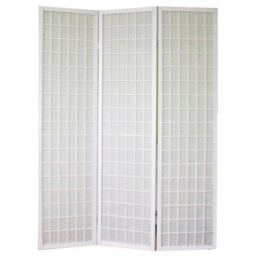 PEGANE Biombo japonés de Madera Shoji Color Blanco de 3 Paneles