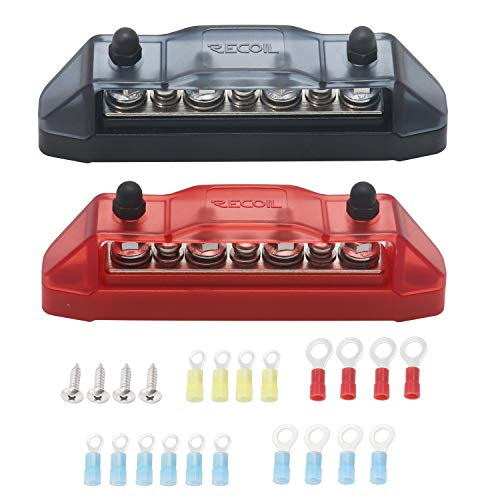 Recoil BBS43-P Bus Bar 4 x M5 Studs 3 Screw Terminals Power Distribution Block Busbar with Ring Terminals (Red+Black)