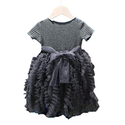 hong Wu Baby-Kleid-Prinzessin Dress Tutu Kinder Kult Rock-Klage für Mädchen Kinder Grau 90CM Kleidung Accessoires