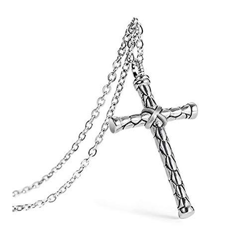 XYBB Collar del aro del Acero Inoxidable Cruz Colgante de Hombres Fresco de Accesorios de joyería (Length : 60cm, Metal Color : Silver)