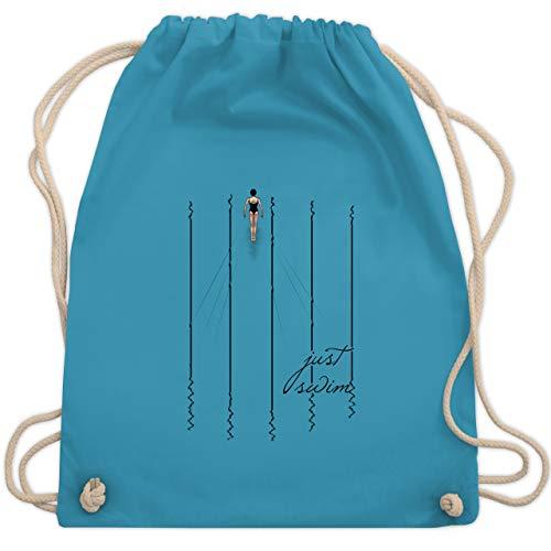 Shirtracer Wassersport - Just swim - Unisize - Hellblau - turnbeutel schwimmen - WM110 - Turnbeutel und Stoffbeutel aus Baumwolle