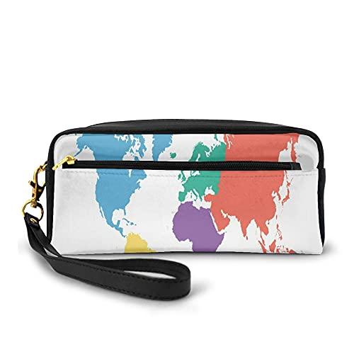 Strapazierfähiges Federmäppchen für mit Reißverschluss,Continents Of The World In Regions Lands Global International Theme,für School Studenten