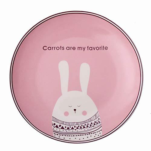 Plato vajilla de cerámica plato de dibujos animados para niños plato de carne plato de desayuno pasta comida occidental plato de conejo rosa