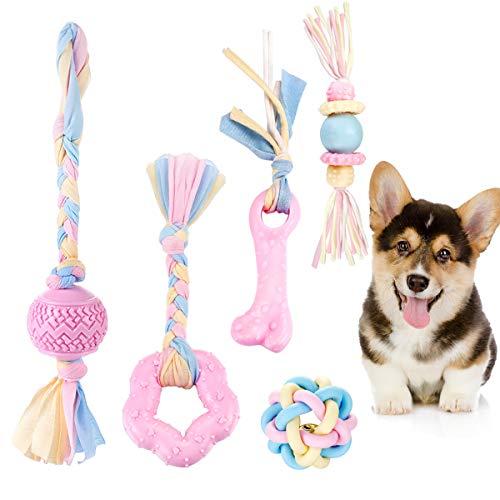 FONPOO Juguetes para Perros, Juguetes para Perros Pequeños, Juguete Antiestres Perro Conjunto Rosa de Cinco Piezas,Mordedor Perro Regalo Perro con Mordedor Perro Cachorro y Bell Ball