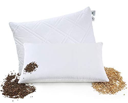 NATURECA - Almohada de espelta con cojín de trigo sarraceno 2 en 1, cáscaras de trigo sarraceno y espelta natural, cojín con funda lavable de algodón, cojín cervical 40 x 60 cm