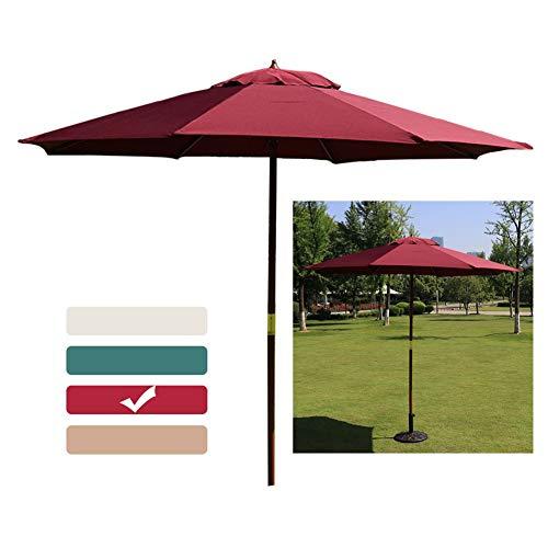 LXLA Sonnenschirm 2,7 M Gartenschirm, Holzschirm Sonnenschirme Sonnenschirm mit Holzstange und 8 Rippen, Sonnenschutz für Strand/Hof/Balkon/Schwimmbad (Color : Wine Red)