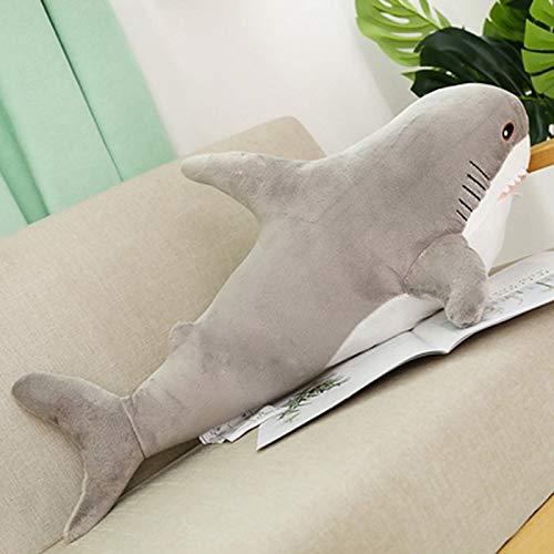 hokkk 80/100 CM de Gran tamaño de Juguete de Peluche de tiburón Animales de Peluche Lindo Almohada para Dormir Juguetes cojín de tiburón Regalo de Peluche para niños 80 cm 02