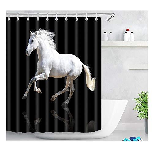 DLSM Caballo Blanco patrón Negro impresión 3D de Secado rápido casa Hotel Escuela baño Cortina de Ducha-El 180x180cm Poliéster Cortinas de Baño Decorativas Impermeable