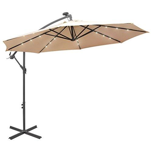 tidyard Sonnenschirm Ampelschirm Gartenschirm Metallmast Balkonschirm mit LED-Beleuchtung Durchmesser 300 cm mit Entlüftungs?ffnung und Kurbelmechanismus - Sandfarben