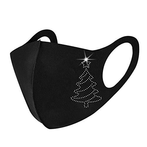 Xmas Cute Cartoon Claus Riding Reindeer Sleigh Merry Christmas Half Face_Mask Skull Print Bandana Neck Gaiter Face Scarf Ear Loops Balaclava for Dust Mask Man Woman