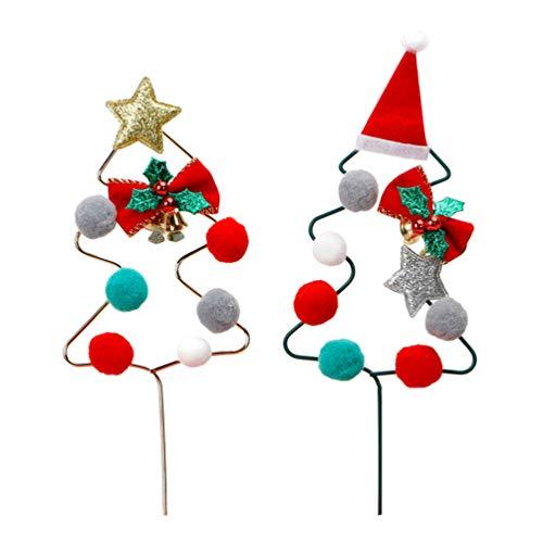 NUOBESTY Decoración de metal para tarta de Navidad para árbol de Navidad, decoración de tartas de hierro para Navidad, 2 unidades