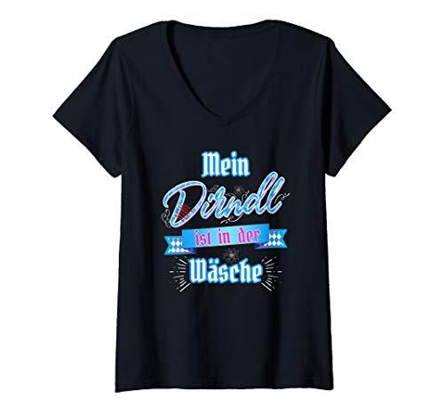 Damen Mein Dirndl ist in der Wäsche & Edelweiß Damen Lustig Shirt T-Shirt mit V-Ausschnitt