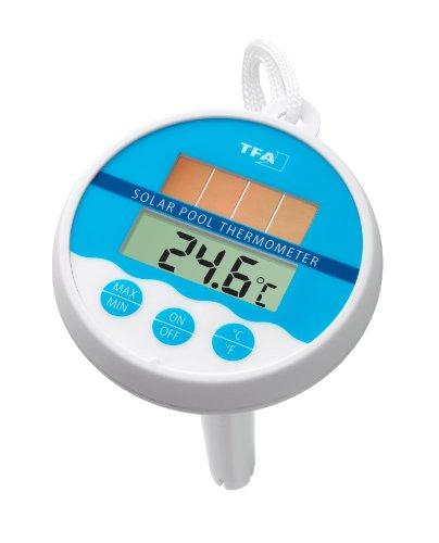 TFA Dostmann 30.1041 - Termómetro digital para piscina con energía solas