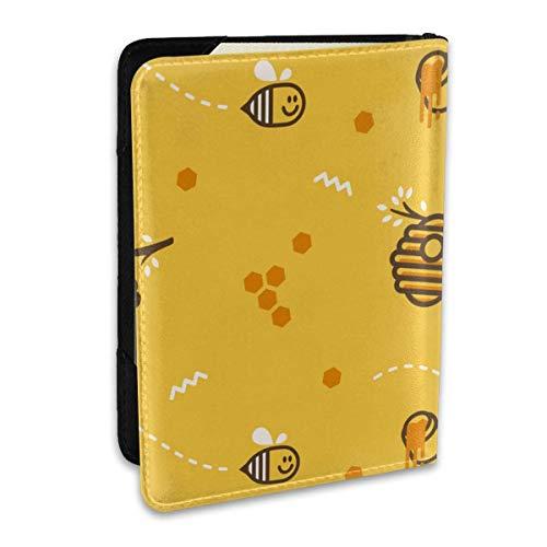 Niedliche Fliegende kleine Biene auf Bienenstock-Wabe mit Honig-Passabdeckungen, Passport-Brieftasche und Passhalter-Reisezubehör