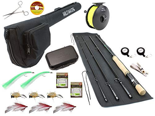 Wild Water Fly Fishing 9 Foot, 4-Piece, 7/8 Weight Fly Rod Deluxe Complete Fly Fishing Rod and Reel Combo Starter Package with Saltwater Flies
