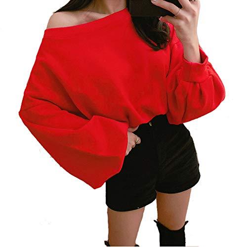 HOSD Abrigo de Suelto Mangas Adelgazante Mujer suéter Cintura Primavera sin Tirantes abullonadas