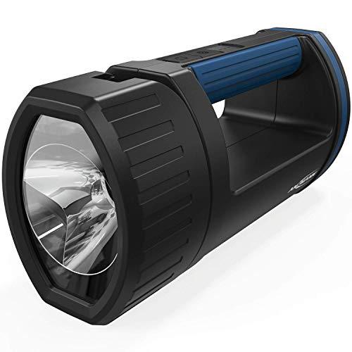 ANSMANN LED Handscheinwerfer Akku mit 5200mAh aufladbar über Micro USB & Ladeaschale - Handlampe mit 3 Leuchtmodi (100%, 30%, Blinklicht), verstellbarer Lampenkopf, Suchscheinwerfer - Notbeleuchtung