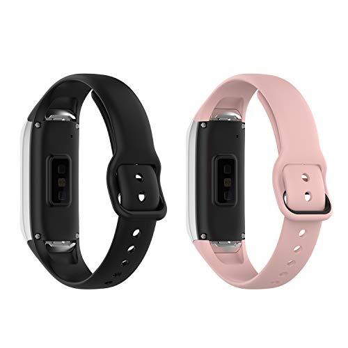 Tencloud Ersatzarmband für Samsung Galaxy Fit SM-R370 Armband Fitness-Tracker, weiches Silikon, 2 Stück (Schwarz+Pink)