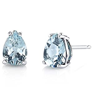 Peora Aquamarine Earrings for Women in 14 Karat White Gold, Classic Solitaire Studs, 7x5mm Pear Shape, 1 Carat total, Friction Back