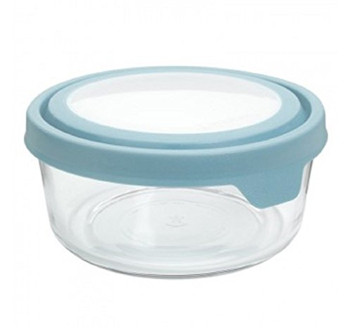 Anchor Hocking TrueSeal Glass Food Storage Containers with Airtight Lids, 2-Cup, Mineral Blue, Pack of 6