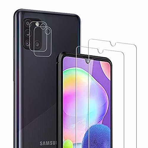 Didisky Panzerglas Hartglas Bildschirmschutzfolie für Samsung Galaxy a31, [ 2+2 Stück] 2 Stück Bildschirmschutzfolie & 2 Stück Kameraschutzfolie,9H Festigkeit, High Definition, Einfach anzuwenden
