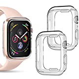 [2 Pack] Goton Compatible iWatch Apple Watch Bumper Case 40mm SE / Series 6 / 5 / 4 (No Screen Protector),Soft TPU Shockproof Edge Case Cover Bumper Protector (Clear and Clear, 40mm)