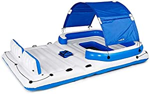 Dciszl Pool Rafts Inflatable Ride-ons Floating Island Raft | Giant Inflatable Pool Float for Adults | Includes Canopy, Cupholders, Cooler Bag | Lounge Fitsup to 6 People | Great for Pool, Lake, River